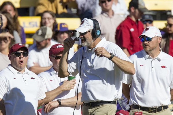 Arkansas defensive coordinator Paul Rhoads and other staff members on the sideline during the 33-10 loss at LSU Saturday, Nov. 11, 2017 at Tiger Stadium in Baton Rouge, La.