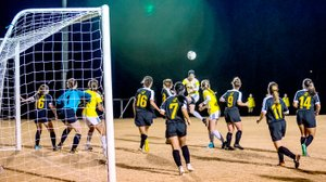 Photo courtesy of JBU Sports Information John Brown forward Jastin Redman attempts to head a ball during Friday's Sooner Athletic Conference Tournament championship match at Alumni Field. Science and Arts (Okla.) defeated John Brown 2-1 in overtime.