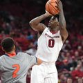 Arkansas guard Jaylen Barford rises for a jumper. He finished with a career-high 27 points and the R...