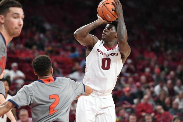 Arkansas guard Jaylen Barford rises for a jumper. He finished with a career-high 27 points and the Razorbacks beat Bucknell 101-73 Sunday Nov. 12, 2017 at Bud Walton Arena in Fayetteville.