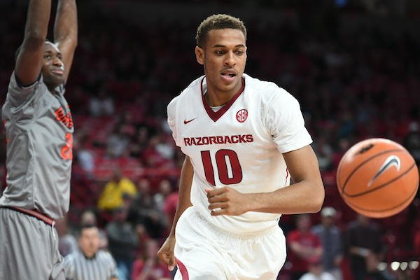 Arkansas freshman Daniel Gafford chases the ball in the 101-73 win over Bucknell Sunday Nov. 12, 2017 at Bud Walton Arena in Fayetteville.