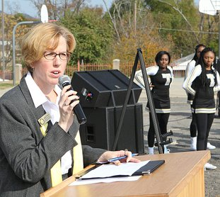 The Sentinel-Record/Richard Rasmussen LOOKING FORWARD: Hot Springs School District Superintendent Stephanie Nehus addressed students and guests Monday at Langston Aerospace and Environmental Studies Magnet School. Nehus said the building process should take about 18 months.