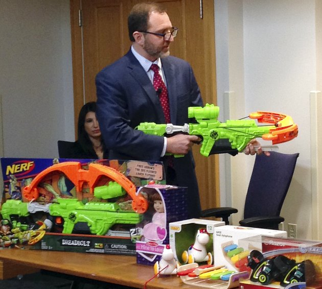 james-swartz-director-of-world-against-toys-causing-harm-or-watch-displays-nerfs-zombie-strike-crossbow-during-a-news-conference-tuesday-nov-14-2017-in-boston-where-the-child-safety-group-released-its-annual-holiday-list-of-the-10-most-hazardous-toys