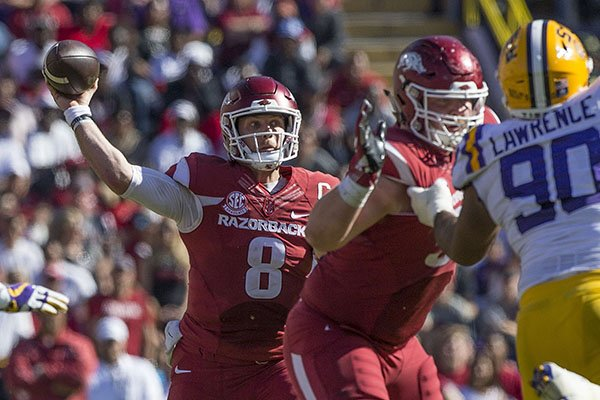 Arkansas quarterback Austin Allen throws a pass during a game against LSU on Saturday, Nov. 11, 2017, in Baton Rouge, La.