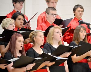 "Pea Ridge Ridgetones sang ""Dona Nobis Pacem (Give us Peace)"" and ""Dannny Boy"" for veterans and students Friday."