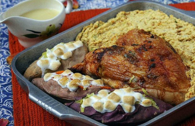 turkey-cornbread-dressing-and-marshmallow-topped-sweet-potatoes-bake-in-the-same-pan-for-an-easy-thanksgiving-dinner