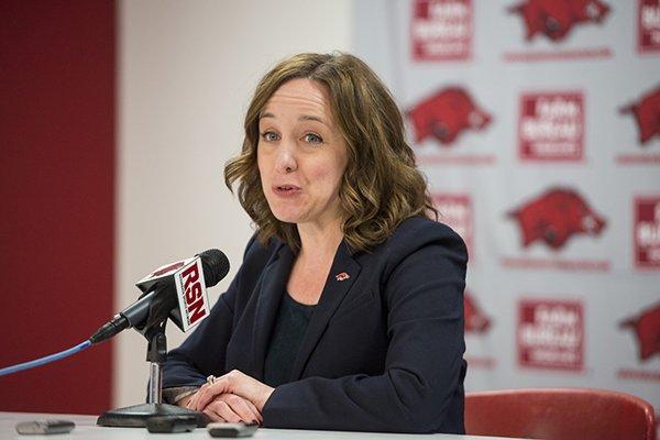 Arkansas interim athletics director Julie Cromer Peoples speaks during a press conference Friday, Nov. 17, 2017, in Fayetteville.