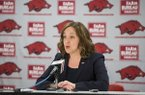 Arkansas interim athletics director Julie Cromer Peoples speaks to the media during a press conference Friday, Nov. 17, 2017, in Fayetteville.