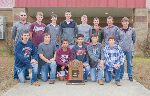 the-cave-city-cross-country-team-won-the-class-4a-state-championship-during-the-state-meet-nov-3-at-oaklawn-racing-gaming-in-hot-springs-team-members-include-front-row-from-left-buck-nida-tyler-farris-justin-stauffer-marcus-rudick-colby-beesly-and-jacob-rudick-and-back-row-assistant-coach-jeremy-cude-brody-vinson-luke-walling-trenton-bell-caleb-anderson-levi-verser-kendall-towsley-and-head-coach-brandon-hailing