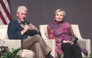 Bill and Hillary Clinton are shown in this screenshot from the Clinton School of Public Service live broadcast of their lecture Saturday night in Little Rock.