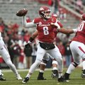 Senior quarterback Austin Allen sets to throw in Arkansas' 28-21 loss to Mississippi State Saturday ...