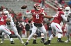Senior quarterback Austin Allen sets to throw in Arkansas' 28-21 loss to Mississippi State Saturday Nov. 18, 2017 at Donald W. Reynolds Razorback Stadium in Fayetteville.