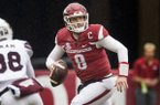 Austin Allen, Arkansas quarterback, looks for a receiver in the fourth quarter against Mississippi State Saturday, Nov. 18, 2017, at Reynolds Razorback Stadium in Fayetteville.