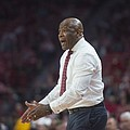 Mike Anderson coaches Arkansas in the second half against Fresno State Friday, Nov. 17, 2017, at Bud...