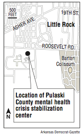A map showing the location of Pulaski County mental health crisis stabilization center