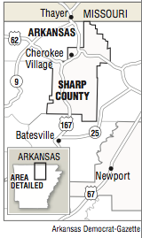 A map showing the location of Sharp County.