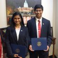 Arthi Krishna, left, and brother Arjun Krishna won the 2017 Congressional App Challenge for U.S. Rep...