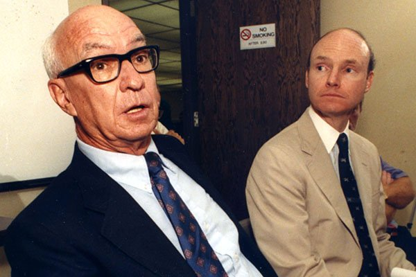 Columnist Orville Henry, left, and Arkansas Democrat publisher Walter Hussman are shown during a news conference Aug. 28, 1989, in Little Rock.