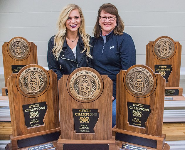 chelsea-tarver-and-her-mom-bauxite-lady-miner-dance-coach-charlotte-tarver-are-surrounded-by-the-five-state-championship-trophies-they-won-as-head-coaches-chelsea-who-currently-serves-as-the-teams-choreographer-won-the-first-three-championships-beginning-in-2013-and-charlotte-has-won-the-title-the-past-two