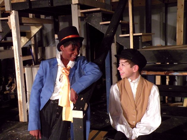 melody-small-of-little-rock-left-appears-as-the-artful-dodger-and-hayden-woods-of-malvern-appears-as-oliver-twist-in-the-royal-players-upcoming-production-of-the-musical-oliver-the-show-will-open-thursday-and-continue-through-dec-10-at-the-royal-theatre-in-benton