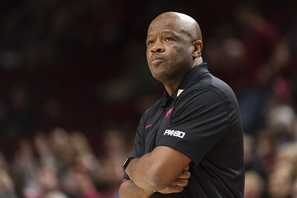Arkansas head coach Mike Anderson watches the second half of an NCAA college basketball game against Oklahoma at the Phil Knight Invitational tournament in Portland, Ore., Thursday, Nov. 23, 2017. (AP Photo/Troy Wayrynen)