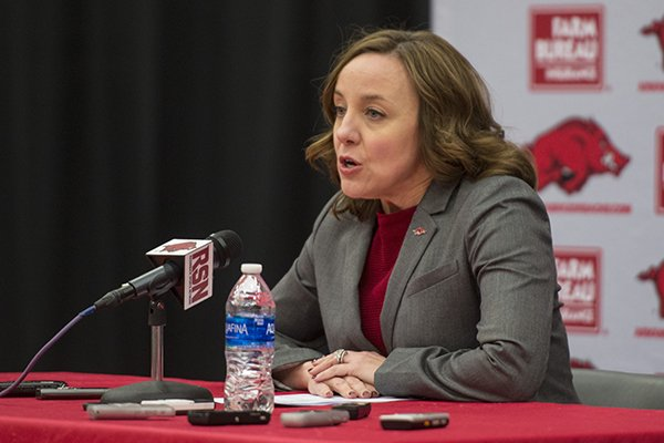 Arkansas interim athletics director Julie Cromer Peoples addresses the firing of football coach Bret Bielema on Friday, Nov. 24, 2017, at Barnhill Arena in Fayetteville.