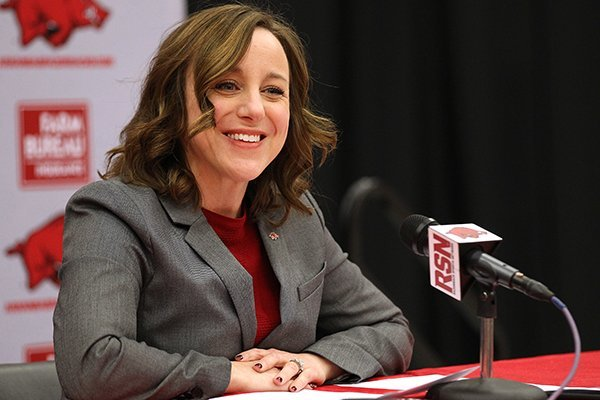 Arkansas interim athletics director Julie Cromer Peoples speaks at a news conference Friday, Nov. 24, 2017, at Barnhill Arena in Fayetteville. Cromer Peoples announced the firing of football coach Bret Bielema following a 48-45 loss to Missouri.