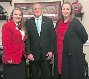 Submitted photo Centerpoint High School senior Karlie Reid, left, recently met U.S. Rep. Bruce Westerman, center, R-District 4, when she traveled to Washington, D.C., for the Family, Career and Community Leaders of America's Capitol Leadership and National Cluster Meeting. She was accompanied by her adviser, Amber Boyett. Reid is the daughter of David and Kristy Wolfe. She served in multiple FCCLA offices including chapter president and District V Secretary for 2016-17. She is a five-year member of the Centerpoint High School chapter of FCCLA.