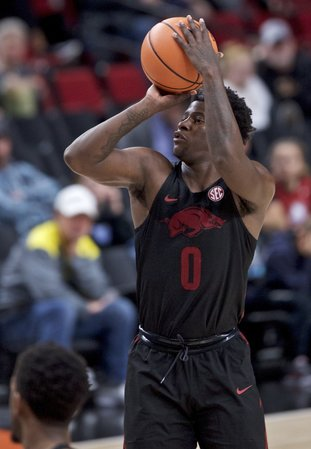 The Associated Press SMOOTH SHOOTING: Arkansas guard Jaylen Barford takes a shot during the second half of an NCAA basketball game in the Phil Knight Invitational tournament in Portland, Ore., Sunday. Barford was named to the all-tournament team for his performance over the weekend.