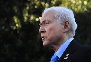 The Associated Press HATCH SPEAKS: Senate Finance Committee Chairman Orrin Hatch, R-Utah, speaks to reporters following a meeting with President Donald Trump at the White House in Washington, Monday.