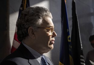 The Associated Press FRANKEN TALKS: Sen. Al Franken, D-Minn., talks to the media on Capitol Hill in Washington, Monday.