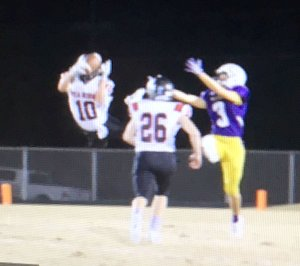 Photograph courtesy of Stephanie Harwell Blackhawk junior Carson Rhine (No. 10) made a sensational leaping interception to stop the Bearcat drive during the third quarter Friday night.