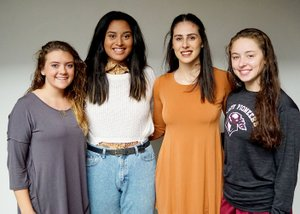 WESTSIDE EAGLE OBSERVER/Randy Moll Gentry High School candidates for the title of basketball homecoming queen are Haley Hays (left), Chastery Fuamatu, Hannah Boss and Kya DeZurik. The four seniors are members of the Gentry girls' basketball team. The winner will be chosen at coronation ceremonies at 5:15 p.m. on Friday in the GHS competition gym. A pep rally will also be held at 2:15 p.m. Varsity games begin at 6 p.m.