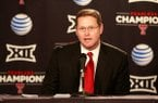Texas Tech athletic director Kirby Hocutt is shown during a news conference April 14, 2016, in Lubbock, Texas. (Mark Rogers/Lubbock Avalanche-Journal via AP)