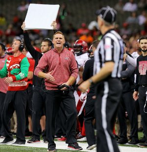 Coach Blake Anderson (left) and the Arkansas State Red Wolves last played in the New Orleans Bowl in 2015, losing to Louisiana Tech 47-28. It was the first time in five years that a Sun Belt Conference team other than Louisiana-Lafayette played in the New Orleans Bowl.