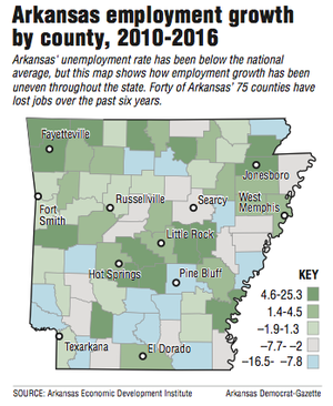Arkansas employment growth by county, 2010-2016