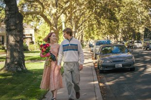 """This image released by A24 Films shows Saoirse Ronan, left, and Lucas Hedges in a scene from """"Lady Bird."""" The film, directed by Greta Gerwig, was named best picture by the New York Film Critics Circle Awards on Thursday, Nov. 30. (Merie Wallace/A24 via AP)"""
