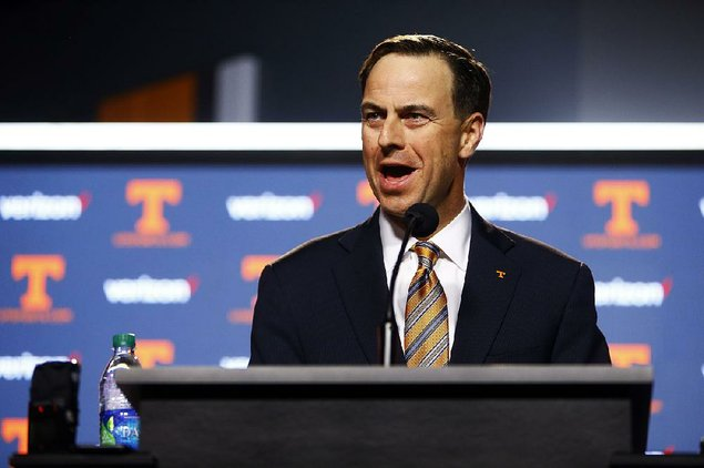 John Currie speaks during a press conference announcing the firing of head football coach Butch Jones Sunday Nov. 12 2017 in Knoxville Tenn