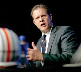 The Associated Press LEADING CANDIDATE: Auburn head coach Gus Malzahn speaks during an NCAA football news conference for the Southeastern Conference championship game against Georgia in Atlanta Friday.