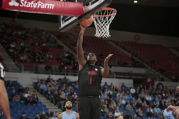 Arkansas' Trey Thompson (1) during an NCAA college basketball game during the Phil Knight Invitational tournament in Portland, Ore., Friday, Nov. 24, 2017. (AP Photo/Timothy J. Gonzalez)