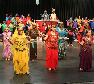Oaklawn Magnet School students take part in a dress rehearsal for the school's production of Aladdin Friday, December 1, 2017. The musical features 20 main characters and nearly 300 students in supporting roles for each performance. The shows are schedule for 9 a.m. and 6 p.m. Tuesday and Thursday and are free and open to the public. (The Senitnel-Record/Ricahrd Rasmussen)