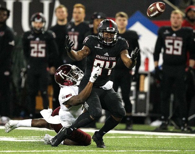 troy-cornerback-jalen-harris-breaks-up-a-pass-intended-for-arkansas-state-wide-receiver-dijon-paschal-84-during-the-fourth-quarter-of-the-red-wolves-32-25-loss-saturday-at-centennial-bank-stadium-in-jonesboro