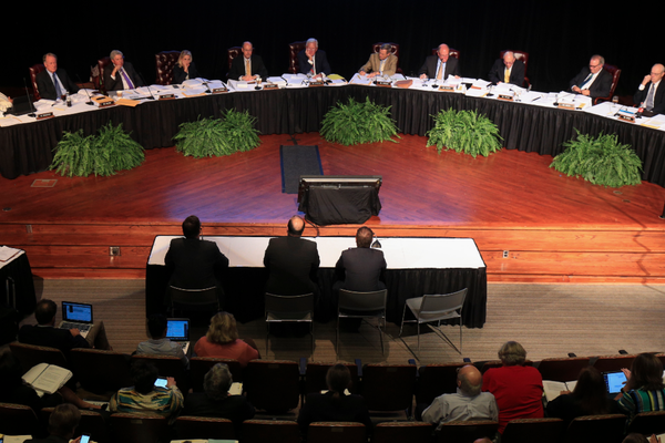 The University of Arkansas Board of Trustees are shown in this May 2017 file photo.