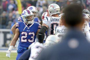The Associated Press CHEAP SHOT: Buffalo Bills strong safety Micah Hyde (23) argues with New England Patriots tight end Rob Gronkowski (87) during the second half of an NFL game Sunday in Orchard Park, N.Y. Gronkowski hit a defenseless Tre'Davious White on a dead ball, leading to a one-game suspension but was not ejected from the game.