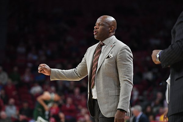Arkansas coach Mike Anderson is shown during a game against Colorado State on Tuesday, Dec. 5, 2017, in Fayetteville.