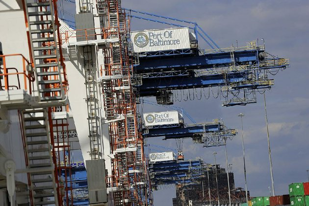 cranes-sit-idle-at-the-port-of-baltimore-in-late-2016-the-us-trade-deficit-widened-in-october-to-a-nine-month-high-on-record-imports-that-reflect-steady-domestic-demand-the-commerce-department-reported-tuesday