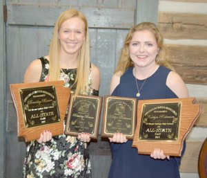 Graham Thomas/Herald-Leader Siloam Springs senior Brinkley Beever, left, and junior Kaitlyn Robinson earned All-Conference and All-State honors for the 2017 golf season. The team held its award banquet Sunday at the Butterfield Cabin in West Siloam Springs, Okla.