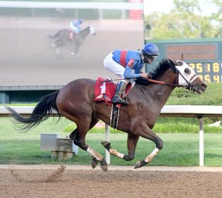The Sentinel-Record/Mara Kuhn RETURN FOR MINISTRY: Jockey Thomas L. Pompell rides horse Ministry to win the Rainbow Miss Stakes at Oaklawn Park on April 1, 2017. The 3-year-old colt looks to make a showing in the $100,000 Downthedustyroad Stakes Feb. 24 at Oaklawn.
