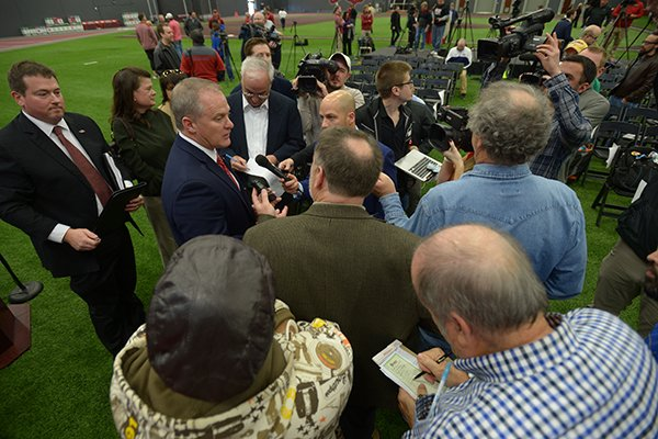 Hunter Yurachek speaks Wednesday, Dec. 6, 2017, to members of the media after being introduced as the new director of athletics at the University of Arkansas during a news conference in the Fowler Family Baseball and Track Indoor Training Center in Fayetteville.