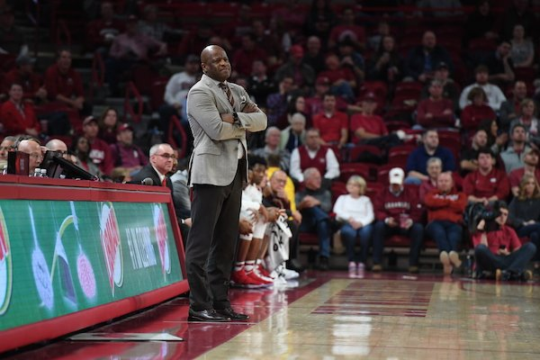 Arkansas coach Mike Anderson stands on the sideline during the Razorbacks' 92-66 win over Colorado State Tuesday Dec. 5, 2017 at Bud Walton Arena in Fayetteville.